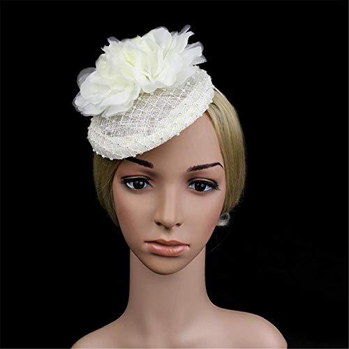 Mmamma Hanf Hut Hut mit Bohrer Hanf Hut Mütze Hut Stirnband Hochzeit Mesh Federn Tea Party Haarspange (Farbe : White)
