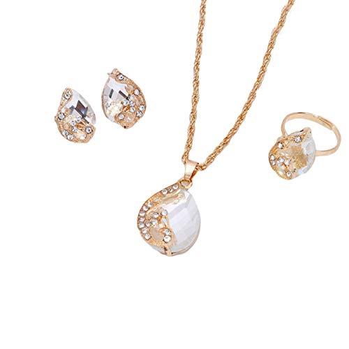 Ruby569y Collar unisex con colgante de gota de agua de pavo real con diamantes de imitación, color blanco