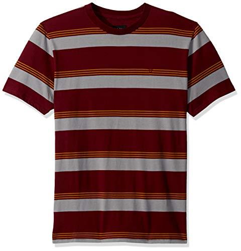 Brixton Men's HILT Tailored FIT Short Sleeve Knit Shirt, Maroon, M