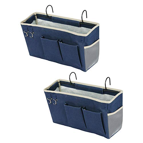 Loghot 2 Pack Bedside Caddy Organizer/Bedside Hanging Storage Bag for Bunk and Hospital Beds, Dorm Rooms Bed Rails (Navy Blue)