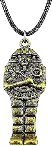 Yiffshunl Collar de Moda Collar de 45x18mm con Colgante de faraón Egipcio para Collar de Cadena de Color Bronce Bronce Collar de Regalo