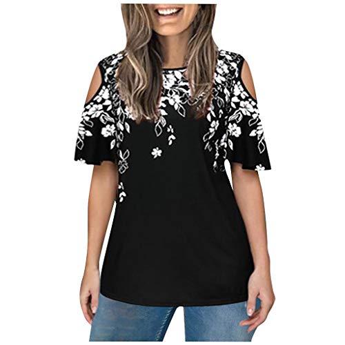 KIMODO Oberteils Damen T Shirt Kurzarm O-Ausschnitt Drucken Nähen Schulterfrei Tops Bluse Rundem Rundhals Bluse Tunika Mode (Weiß, L)