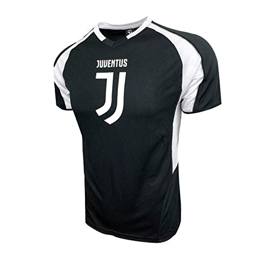 Icon Sports Compatible with Juventus F.C. Licensed Black Poly Jersey Tee, for Kids (Youth Medium 7-9 Years)