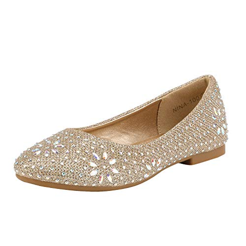 DREAM PAIRS Little Kid Nina-100 Gold Glitter Girls Dress Shoes Classic Ballet Flats - 2 M US Little Kid