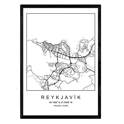 Drucken Karte Reykjavik City skandinavischen Stil in Schwarz & Weiß. A3 Größe Plakat Das bedruckte Papier Keine 250 gr. Gemälde, Drucke & Poster für Wohnzimmer & Schlafzimmer