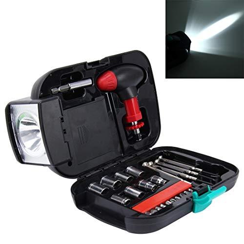LJYNB Auto-gereedschap 24 stuks draagbare zaklamp Tool Box Set - Draagbare auto, huis, noodtoolkit met zaklamp, autogereedschap, autogereedschap