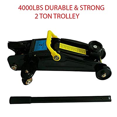 4000Lbs Durable & Strong Jack 2 Ton Trolley Floor Jack Strong Stand Lift Car Auto Portable Hydraulic With 360-degree Swivel Saddle For Lifts Most of Vehicles, Boasts & Other - Black