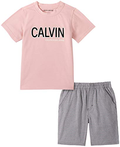 Calvin Klein Boys' 2 Pieces Shorts Set, Peach/Plaid, 3T