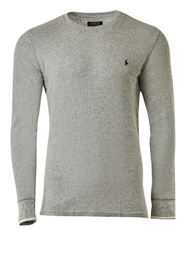 Ralph Lauren - Polo da uomo a maniche lunghe, a girocollo, maglia goffrata grigio XXL