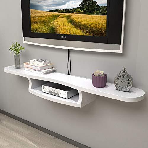 WANGXIAO wandgemonteerde zwevende plank, multifunctionele opslag plank open media console sparen ruimte 2 Tier voor satelliet TV-doos kabeldoos