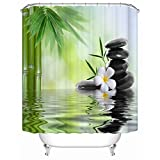 Tela cortinas de baño, for trabajo pesado del molde impermeable a prueba resistente Poliéster patrón 3D de piedra Jardín Zen espesa cortina de ducha for duchas de baño, patio de butacas y bañeras