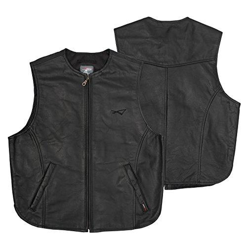 A-pro Chaleco de piel de vacuno, calidad para moto, color negro, talla M