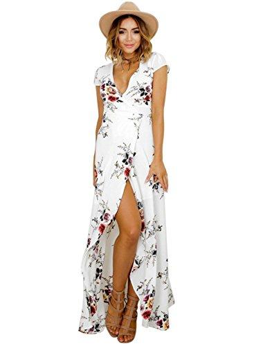 Femmes Bohème Longue Maxi Robe de Plage Robes Bustier Été Floral Imprimé 3/4 Manche Robe Col Badeau Taille Grande (Blanc-1, S)