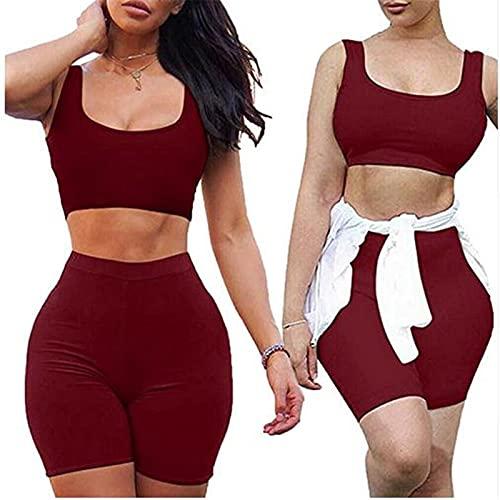 Dazzerake Mujer 2 unidades de entrenamiento liso sin mangas pecho bajo Fitness Running chándal atlético cintura alta banda elástica pantalones cortos deportivos de mujer rojo M