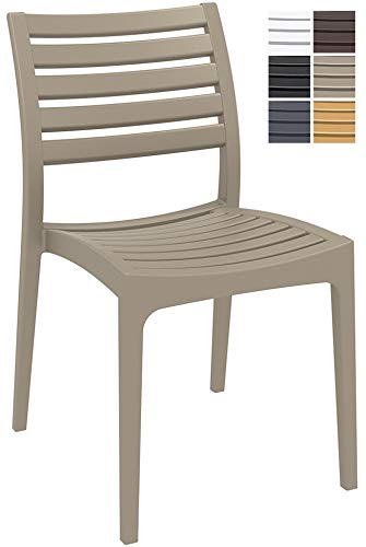 CLP Gartenstuhl ARES aus Kunststoff l Küchenstuhl belastbar bis 160 kg l Wasserabweisender, UV-beständiger Stapelstuhl, Farbe:Schlamm
