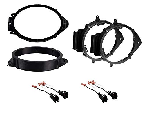 """ASC Premium 6x9 Front + 6+-Inch 6"""" 6.5"""" 6.75"""" Rear Car Speaker Install Adapter Mount Bracket Plates w/Speaker Wire Connectors for Select GM GMC Vehicles- See Below for Compatible Vehicles"""