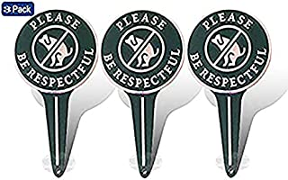 No Peeing/Pooping Be Respectful Dog Sign,Stop Dogs from Pooping and Peeing On Your Lawn, Politely Reads Please Be Respectful-Metal Reflective Yard Sign Protect Your Grass & Property (No Poo) 3Pack