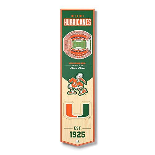 YouTheFan NCAA Miami Hurricanes 3D StadiumView Banner 8 x 32