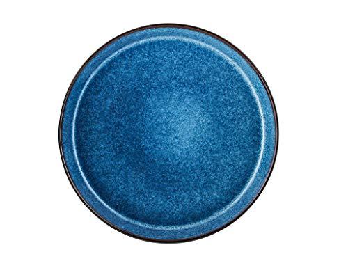 BITZ Teller, Speiseteller, Essteller aus Steinzeug, 27 cm im Durchmesser, schwarz/dunkelblau