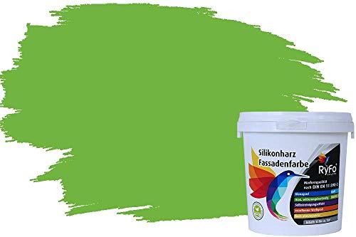 RyFo Colors Silikonharz Fassadenfarbe Lotuseffekt Trend Grasgrün 1l - bunte Fassadenfarbe, weitere Grün Farbtöne und Größen erhältlich, Deckkraft Klasse 1
