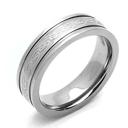 Double Accent 6MM Comfort Fit Titanium Wedding Band Celtic Knot Grooved Ring (Size 7 to 14) Size 8.5
