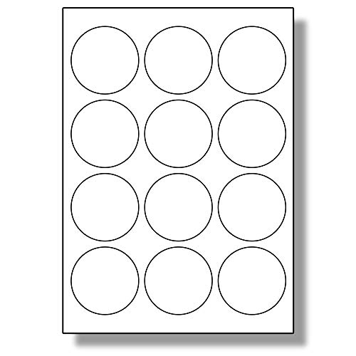 12 Par Feuille, 250 Feuilles, 3000 Étiquettes. Label Planet® Étiquettes Rondes en Polyester Transparent A4 pour Imprimantes Laser 63.5mm Diamètre, LP12/63 R GTP.