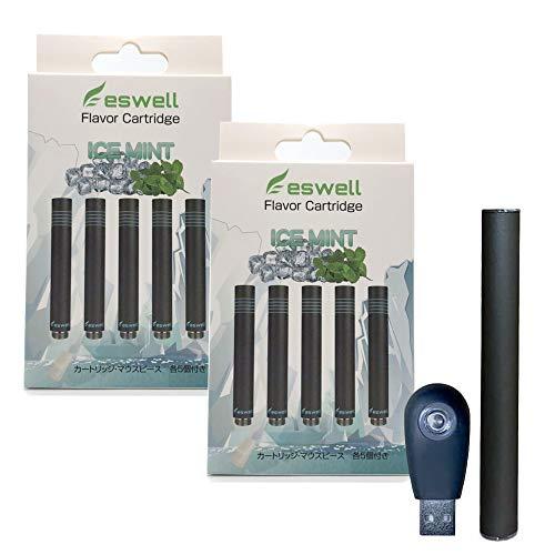 【eswell】プルームテック 互換 カートリッジ 5本入り 2箱セット 510バッテリー&充電器付き! ploom tech カプセル対応 スターターキット フレーバー4種 (アイスミント)