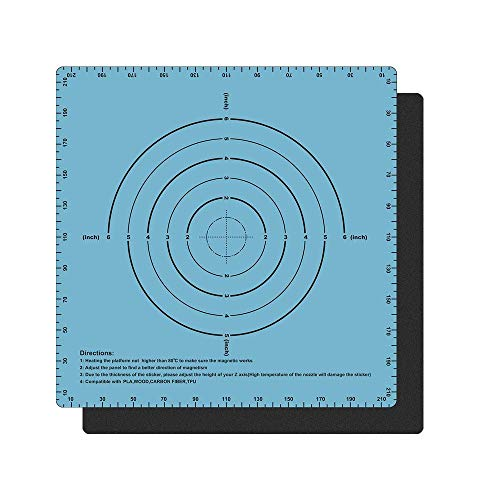 TaoToa Magnetic Two Layer Print Hot Bed Sticker Build Surface Tape for 3D Printer Build Platform Heated Bed Sticker (220X220mm)
