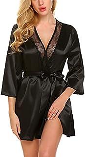ADOME Women Short Satin Kimono Robe Lingerie Nightgown Sleepwear Silk Bathrobe Pure Color Black M