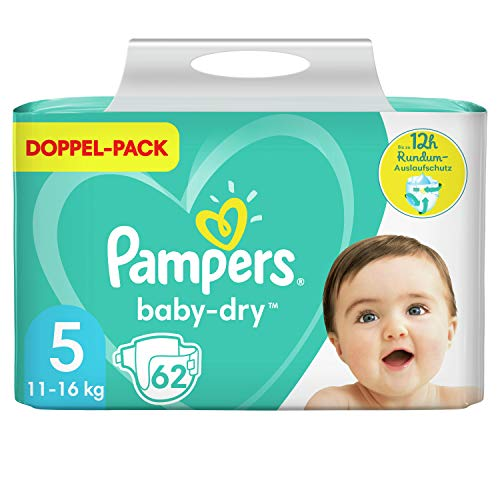 Pampers Baby-Dry Größe 5, 62 Windeln, bis zu 12Stunden Rundumschutz, 11-16kg, Doppelpack