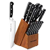 Kitchen Knife Set 15 Pieces with Wooden Block Sharpener 6 Pieces Serrated Steak Knives, homgeek Professional German X50Cr15 Stainless Steel Sharp Pakkawood Handle Chef Knife Block Set Full-Tang Forged