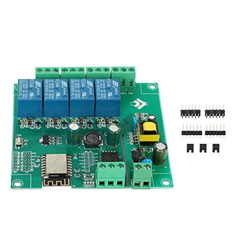 JISKGH ESP8266 MóDulo de Relé InaláMbrico WIFI de 4 Canales Placa desarrollo Wifi ESP-12F para Fuente de AlimentacióN para AC / 5V / 8-80V