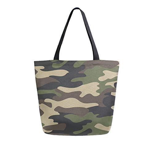 Einkaufstasche mit Tragegriffen, Camouflage-Muster, aus Segeltuch, wiederverwendbar