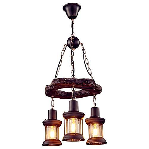 Pointhx Industrielles LOFT Vintage-Hängeleuchte-Befestigungs-3-Licht Edison E27 Restaurant Droplight Antike Loft Edison Vintage Retro Decke hängende Lampe Nostalgic Glas Hang Petroleumlampe