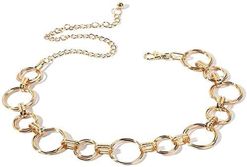 Cadena de la cintura, cinturón de cadena de moda para mujeres Cadena de cintura de oro oro pulido pulido anillo de metal con hebilla ajustable Cadena de la cadena de la correa del cuerpo para la fiest