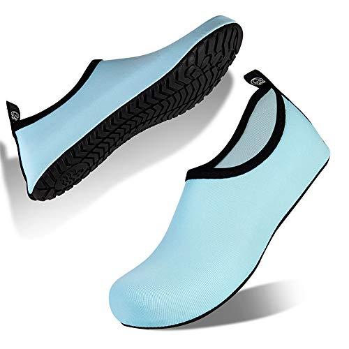 IceUnicorn Badeschuhe Herren Damen Schwimmschuhe Strandschuhe Aquaschuhe Wasserschuhe Barfus Schuhe Unisex Sommer Surfschuhe Yoga(MiIK-L/Blau, 42/43EU)