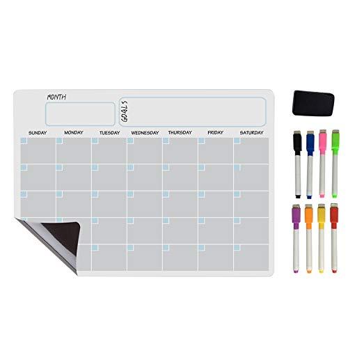 Gesh Pizarra blanca magnética A3 con calendario de borrado en seco, planificador semanal para nevera, cocina, hogar, 43 x 30 cm