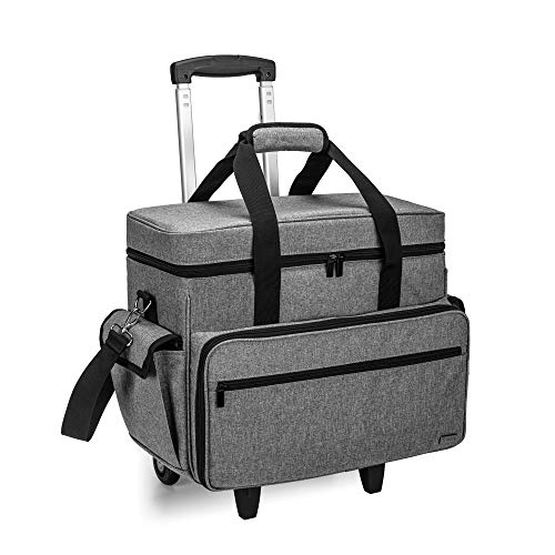 Teamoy Sewing Machine Case on Wheels, Rolling Sewing Machine Tote with Wheels and Bottom Wood Pad, Compatible with Singer, Brother and Most Majority Machines and Accessories, Gray