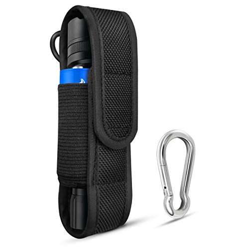 PALUMMA Nylon Flashlight Pouch Holster with Carabiner