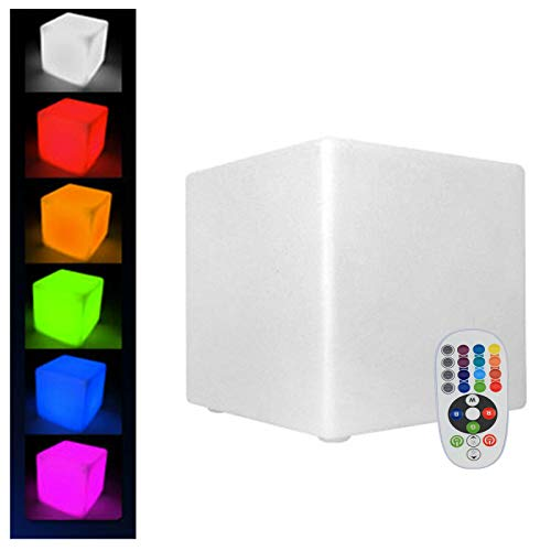 Cubo de luz LED de 43,5 cm, para exteriores, resistente al agua, con mando a distancia, cambio de color RGB, 16 colores ajustables, carga USB, luz nocturna regulable para el salón
