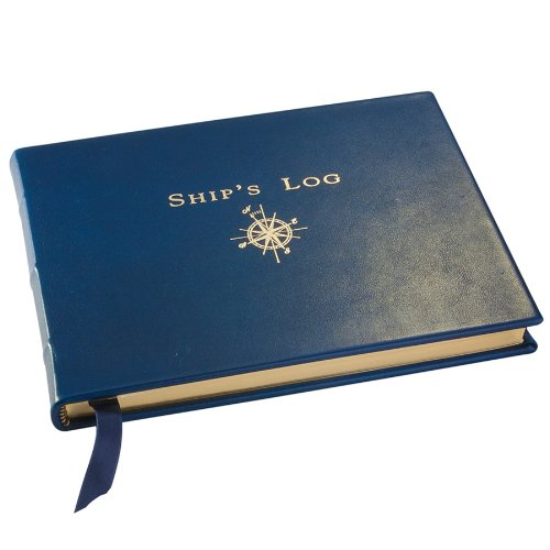 Graphic Image Genuine Leather Ship's Log/Journal, Blue