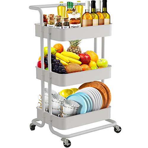 JOMARTO 3-Tier Rolling Utility Cart with Handle, Storage Cart Organizer with Lockable Wheels Makeup Cart Organizer Craft Art Cart Multi-Purpose Trolley Cart for Kitchen, Bathroom, Office (White)