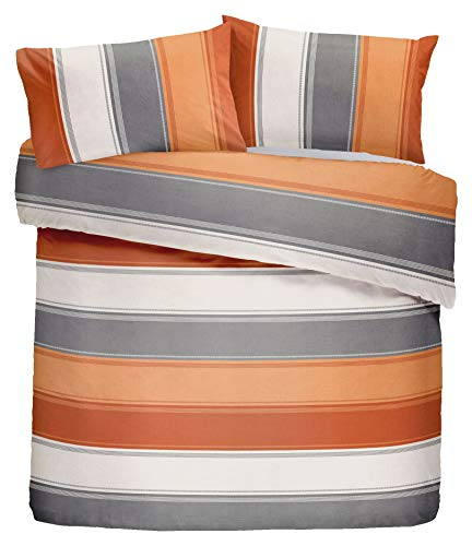 Betley Striped Duvet Cover Quilt Cover Set - Single/Double/King Sizes (Spice, Single)