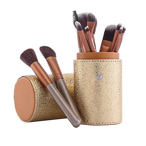 Llxxx Pinceau de Maquillage-Pinceaux cosmétiques Portables pour Poudre Libre, Contour, Teinte, surligneur, Fard à paupières et Fond de Teint, 12 pièces, B