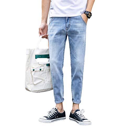 Jeans para Hombre Tendencia de Primavera y Verano de Jeans Casuales Ajustados Pantalones de Mezclilla elásticos Finos 28