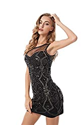 Black 1920s Sequin Vintage Bodycon Cocktail Dress