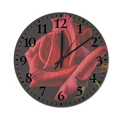 TattyaKoushi Fashion Wooden Wall Clocks Home Decor Textured Red Rose S
