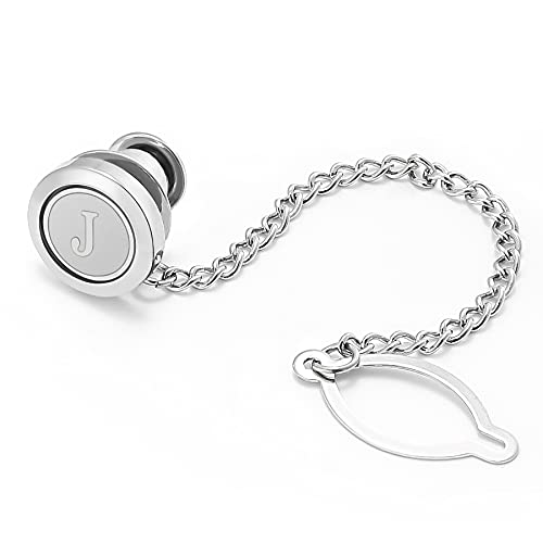 Dannyshi Mens tie pins with Chain Round Silver Wedding Business Initials A-Z tie Clip Gift (J)