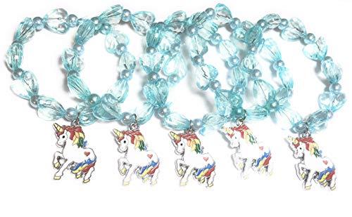 FizzyButton Gifts set van 5 turquoise elastische parels regenboog Unicorn armbanden voor jongere feestzakjes meisjes