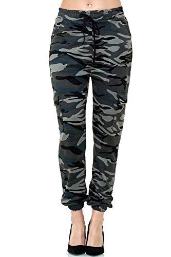 EGOMAXX Damen Cargo Jogger Freizeithose Jogginghose Dehnbund Stretch Pants, Farben:Grau, Größe:XL/XXL